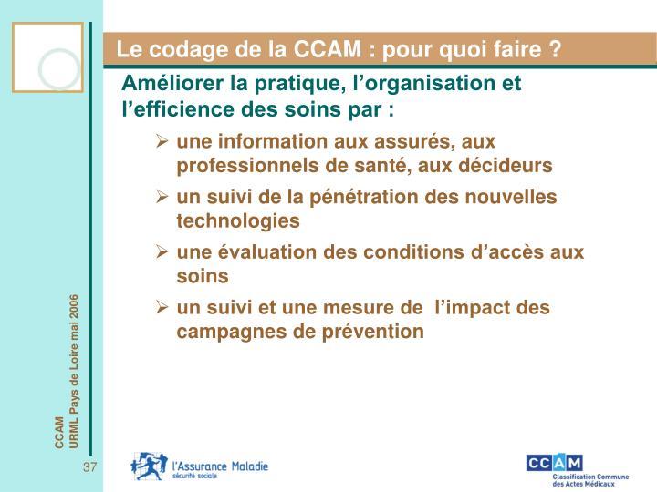Le codage de la CCAM : pour quoi faire ?