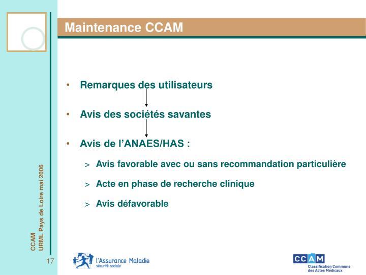 Maintenance CCAM