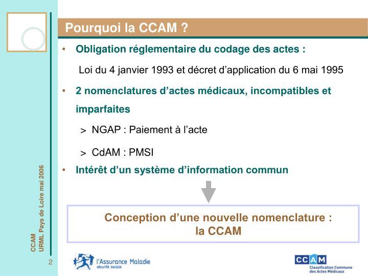 Pourquoi la CCAM ?