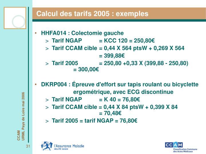 Calcul des tarifs 2005 : exemples