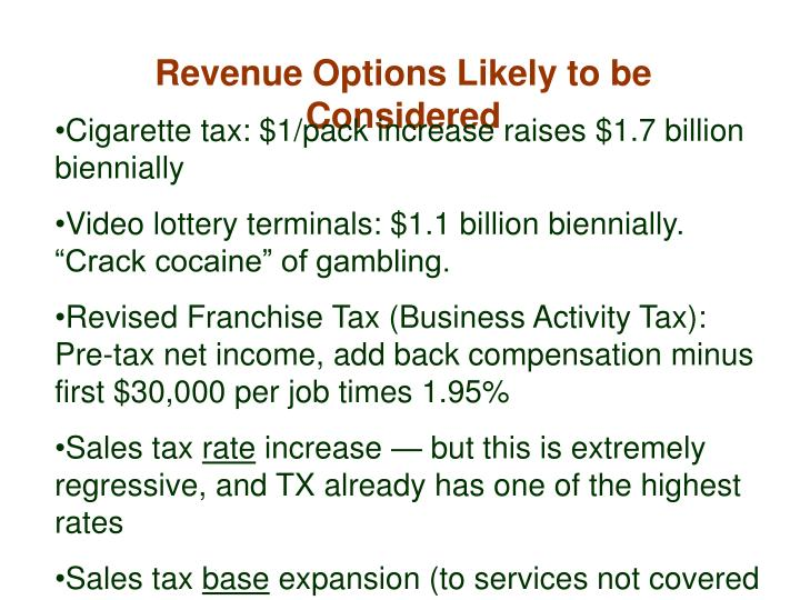 Revenue Options Likely to be Considered