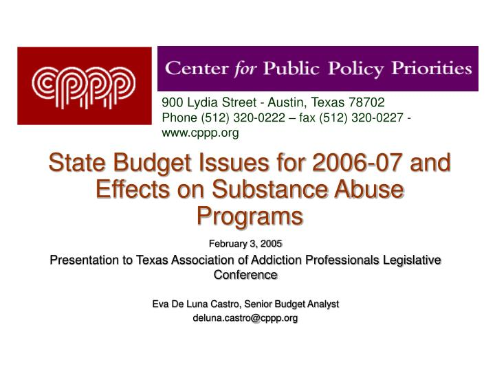 state budget issues for 2006 07 and effects on substance abuse programs