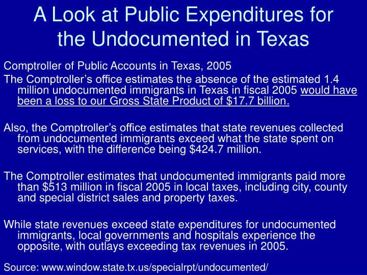 A Look at Public Expenditures for the Undocumented in Texas