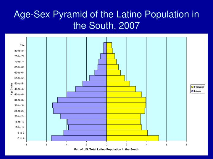 Age-Sex Pyramid of the Latino Population in the South, 2007