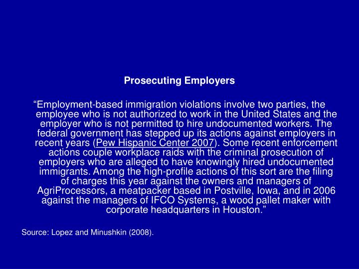 Prosecuting Employers