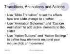 transitions animations and actions