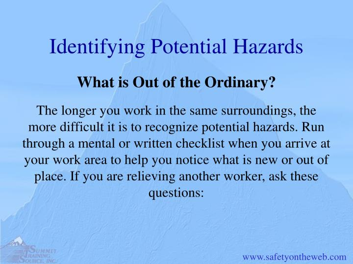 Identifying Potential Hazards