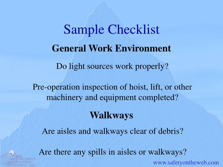 Sample Checklist