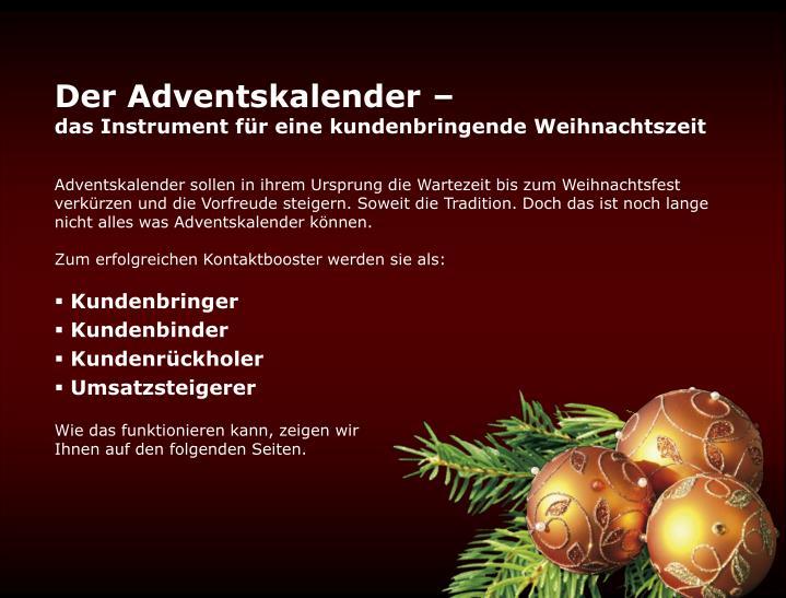Der Adventskalender –