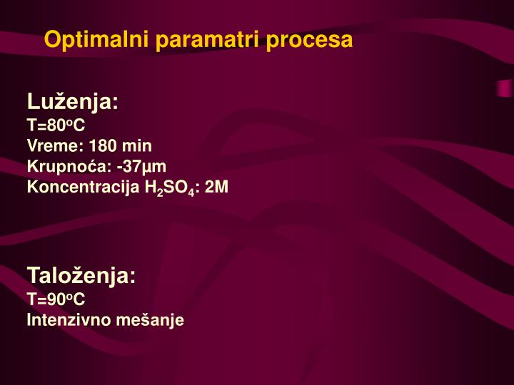 Optimalni paramatri procesa