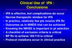 clinical use of tpa conclusions