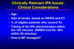 clinically relevant tpa issues clinical considerations