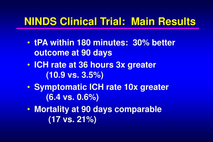 NINDS Clinical Trial:  Main Results