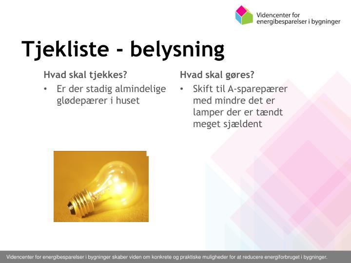 Tjekliste - belysning