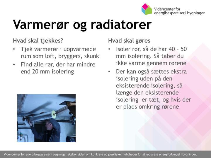 Varmerør og radiatorer