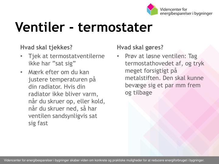 Ventiler - termostater