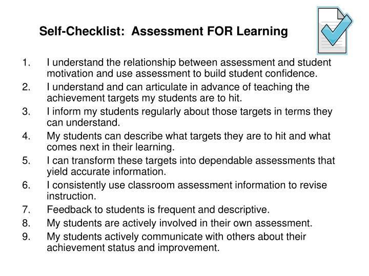 Self-Checklist:  Assessment FOR Learning