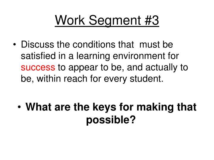 Work Segment #3