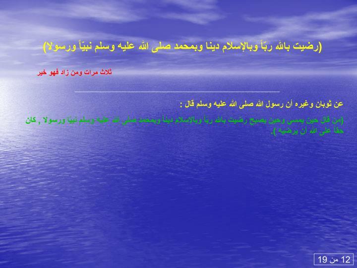 (رضيت بالله ربّاً وبالإسلام دينا وبمحمد صلى الله عليه وسلم نبيّاً ورسولا)