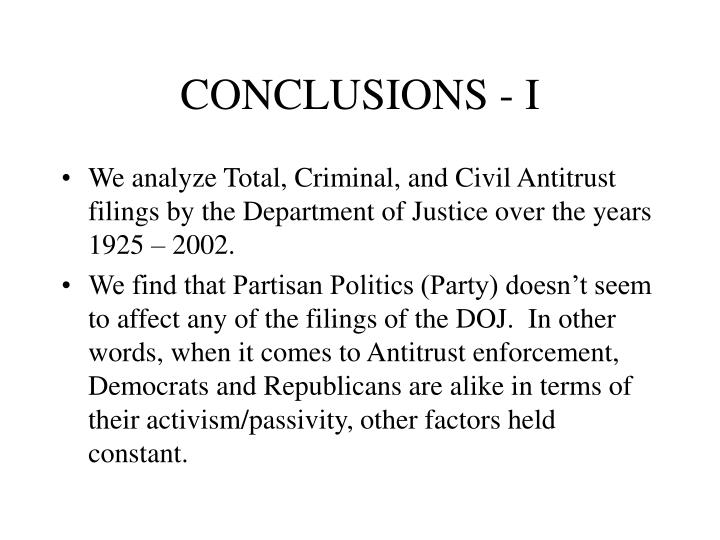CONCLUSIONS - I