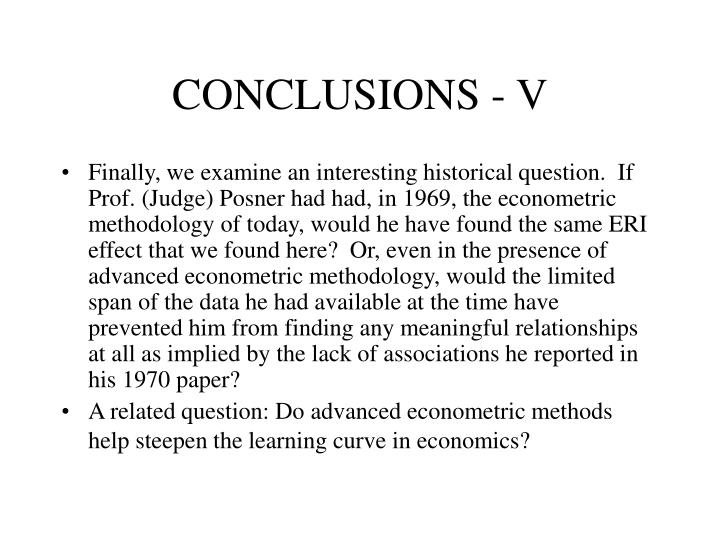 CONCLUSIONS - V
