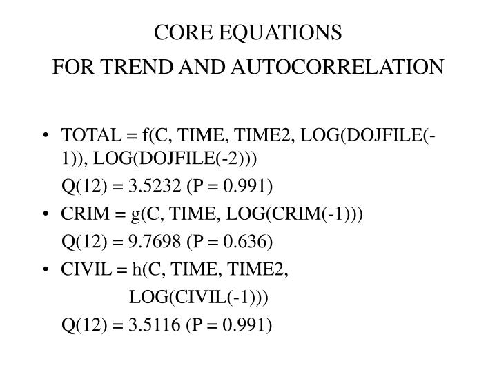 CORE EQUATIONS