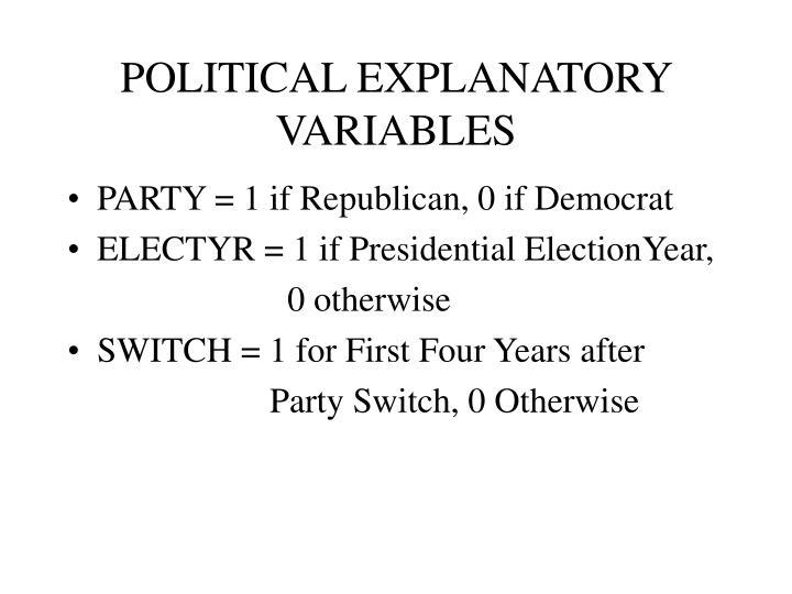 POLITICAL EXPLANATORY VARIABLES