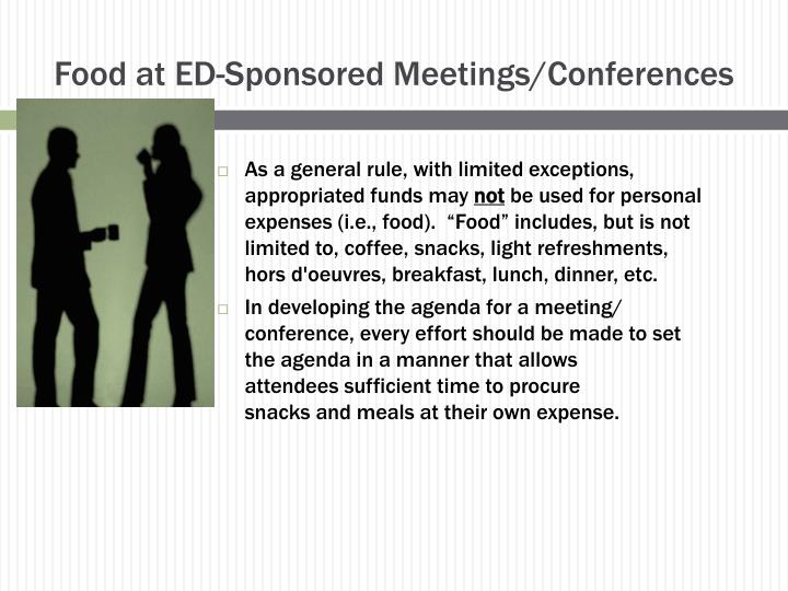 Food at ED-Sponsored Meetings/Conferences