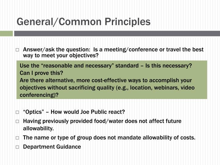 General/Common Principles