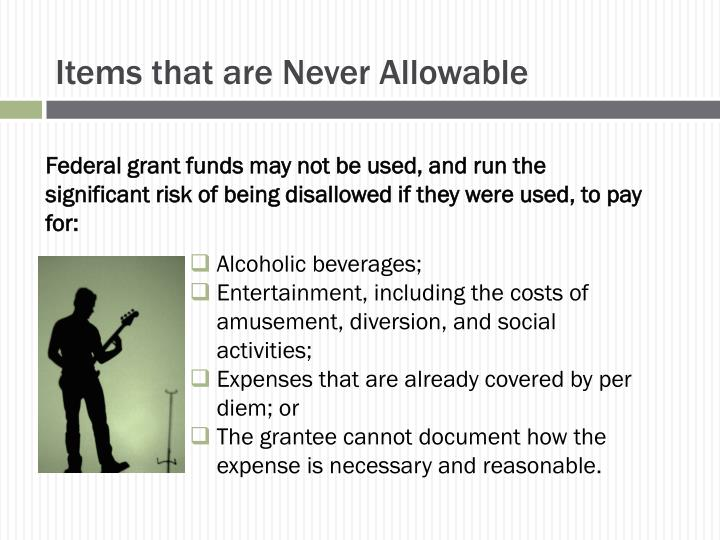 Items that are Never Allowable