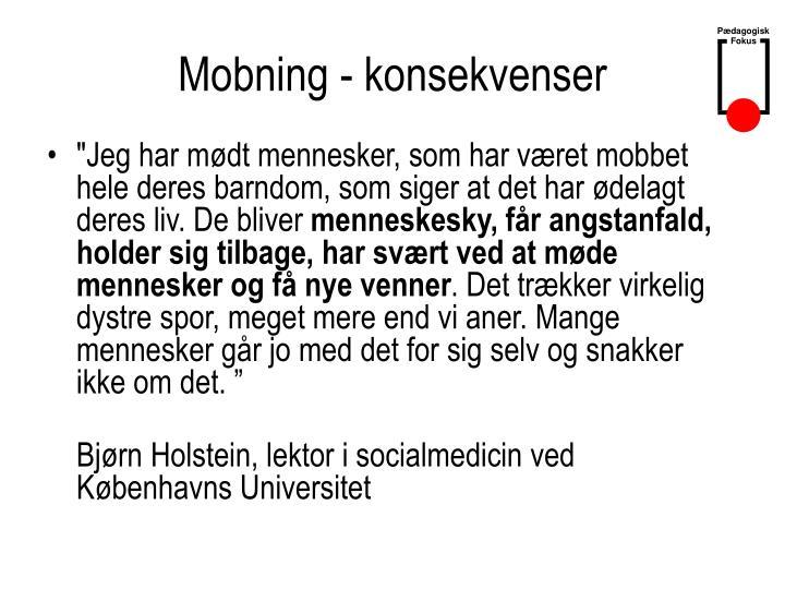 Mobning - konsekvenser