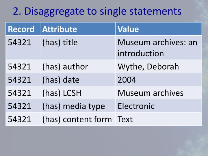 2. Disaggregate to single statements