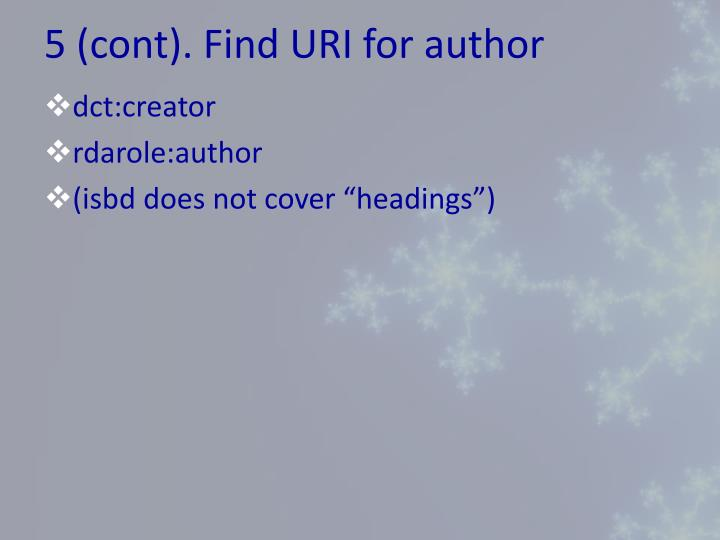 5 (cont). Find URI for author