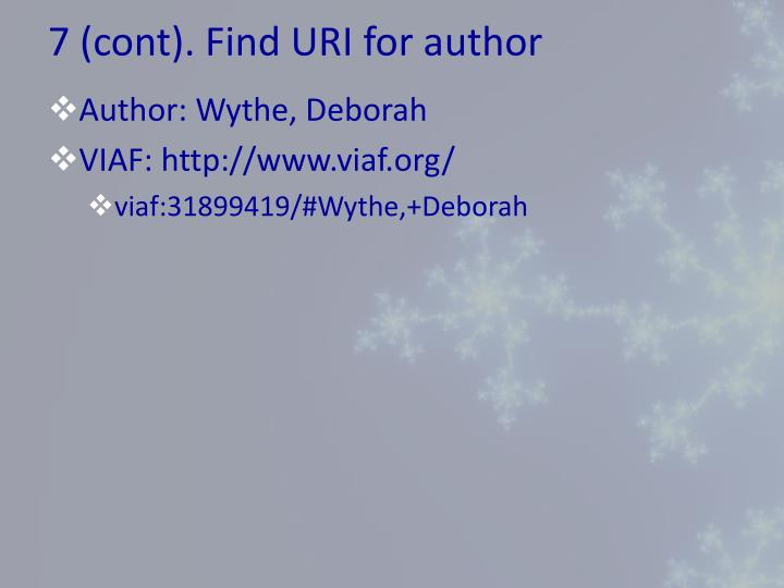7 (cont). Find URI for author