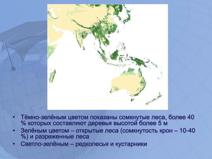 Тёмно-зелёным цветом показаны сомкнутые леса, более 40 % которых составляют деревья высотой более 5 м