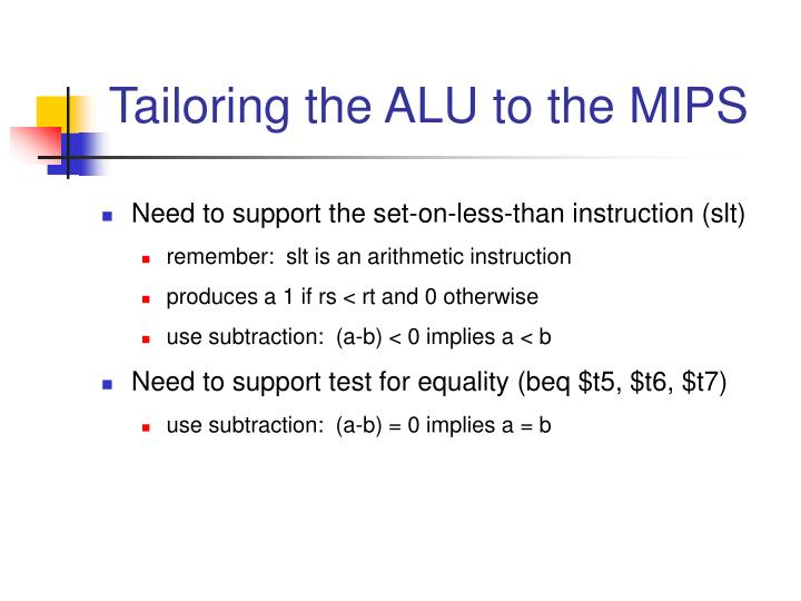 Tailoring the ALU to the MIPS