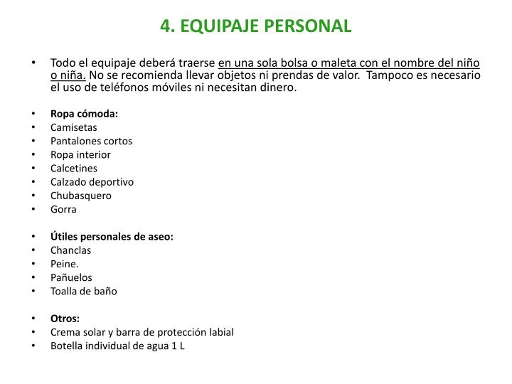 4. EQUIPAJE PERSONAL