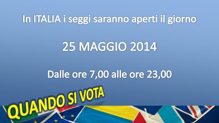 In ITALIA i seggi saranno aperti il giorno