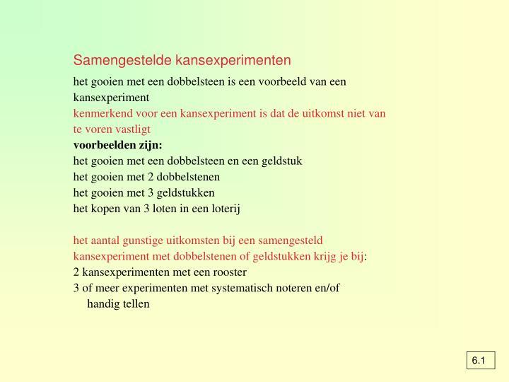 Samengestelde kansexperimenten