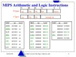 mips arithmetic and logic instructions