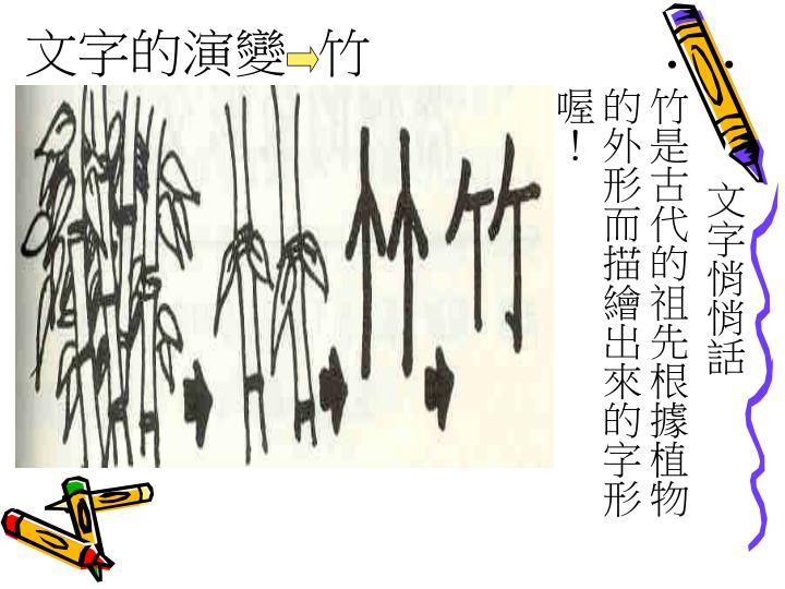 文字的演變  竹
