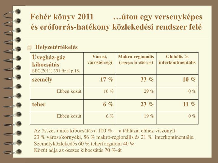 Fehér könyv 2011         …úton egy versenyképes és erőforrás-hatékony közlekedési rendszer felé