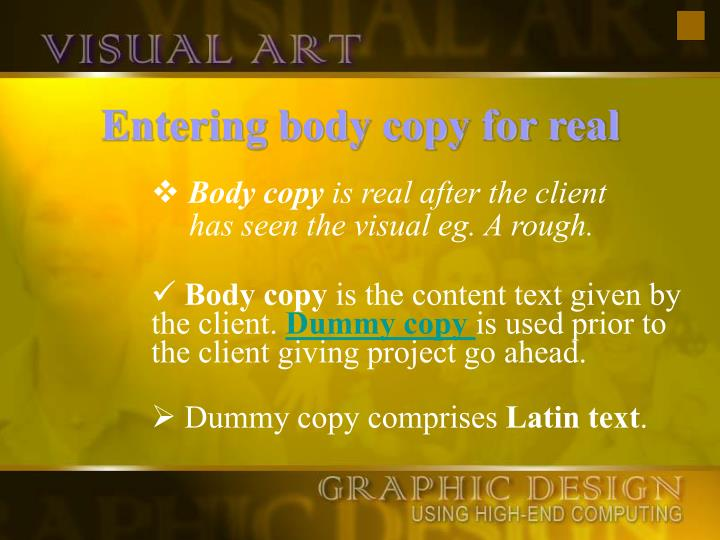 Entering body copy for real