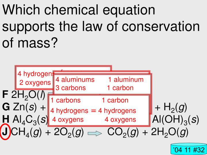 Which chemical equation supports the law of conservation of mass?