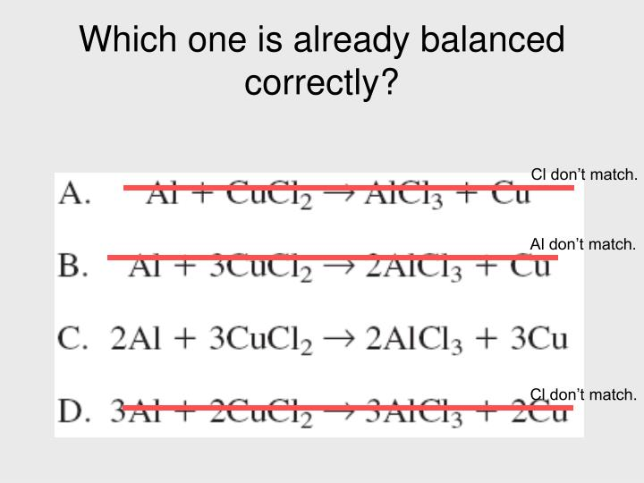 Which one is already balanced correctly?