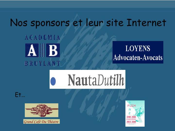 Nos sponsors et leur site Internet