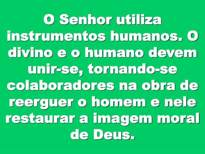 O Senhor utiliza instrumentos humanos. O divino e o humano devem unir-se, tornando-se colaboradores na obra de reerguer o homem e nele restaurar a imagem moral de Deus.