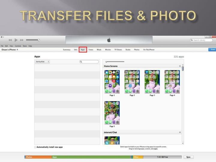 Transfer files & photo