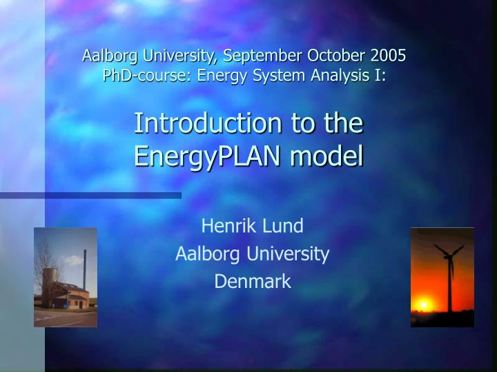 introduction to the energyplan model