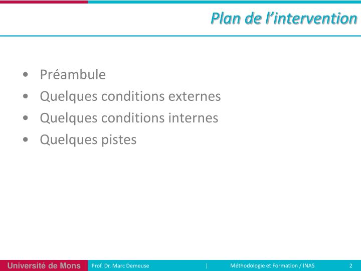 Plan de l intervention